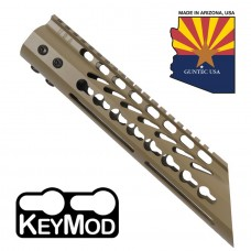 "10"" ULTRA LIGHTWEIGHT THIN KEY MOD FREE FLOATING HANDGUARD WITH SLANT NOSE (FLAT DARK EARTH)"