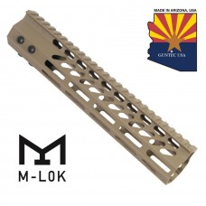 "10"" ULTRA SLIMLINE OCTAGONAL 5 SIDED M-LOK FREE FLOATING HANDGUARD WITH MONOLITHIC TOP RAIL (FLAT DARK EARTH)"