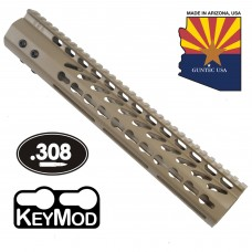 "12"" ULTRA LIGHTWEIGHT THIN KEY MOD FREE FLOATING HANDGUARD WITH MONOLITHIC TOP RAIL (.308 CAL)(FLAT DARK EARTH)"