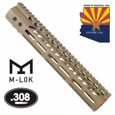 "12"" ULTRA LIGHTWEIGHT THIN M-LOK SYSTEM FREE FLOATING HANDGUARD WITH MONOLITHIC TOP RAIL (.308 CAL)(FLAT DARK EARTH)"