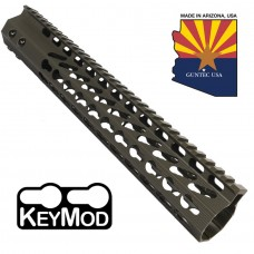 "12"" ULTRA SLIMLINE OCTAGONAL 5 SIDED KEY MOD FREE FLOATING HANDGUARD WITH MONOLITHIC TOP RAIL (O.D. GREEN)"