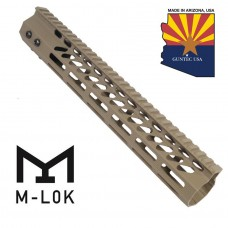"12"" ULTRA SLIMLINE OCTAGONAL 5 SIDED M-LOK FREE FLOATING HANDGUARD WITH MONOLITHIC TOP RAIL (FLAT DARK EARTH)"