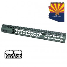 "15"" AIR LITE KEYMOD FREE FLOATING HANDGUARD WITH MONOLITHIC TOP RAIL (ANODIZED GREEN)"