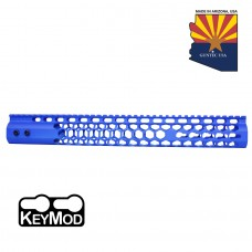 "15"" AIR LITE SERIES ""HONEYCOMB"" KEYMOD FREE FLOATING HANDGUARD WITH MONOLITHIC TOP RAIL (BLUE)"