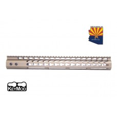 "15"" ULTRA LIGHTWEIGHT THIN KEY MOD FREE FLOATING HANDGUARD WITH MONOLITHIC TOP RAIL (BURNT BRONZE)"