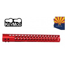 "15"" ULTRA LIGHTWEIGHT THIN KEY MOD FREE FLOATING HANDGUARD WITH MONOLITHIC TOP RAIL (RED)"