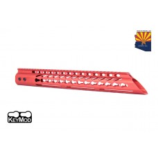 "15"" ULTRA LIGHTWEIGHT THIN KEY MOD FREE FLOATING HANDGUARD WITH SLANT NOSE (RED)"