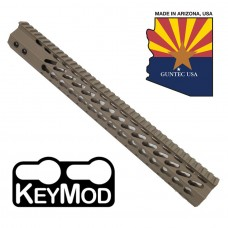 "15"" ULTRA SLIMLINE OCTAGONAL 5 SIDED KEY MOD FREE FLOATING HANDGUARD WITH MONOLITHIC TOP RAIL (FLAT DARK EARTH)"