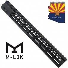 "15"" ULTRA SLIMLINE OCTAGONAL 5 SIDED M-LOK FREE FLOATING HANDGUARD WITH MONOLITHIC TOP RAIL"