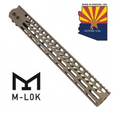 "15"" ULTRA SLIMLINE OCTAGONAL 5 SIDED M-LOK FREE FLOATING HANDGUARD WITH MONOLITHIC TOP RAIL (FLAT DARK EARTH)"