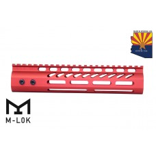 """9"""" ULTRA LIGHTWEIGHT THIN M-LOK SYSTEM FREE FLOATING HANDGUARD WITH MONOLITHIC TOP RAIL (RED)"""