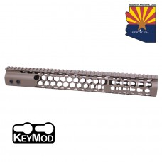 "15"" AIR LITE SERIES ""HONEYCOMB"" KEYMOD FREE FLOATING HANDGUARD WITH MONOLITHIC TOP RAIL(FLAT DARK EARTH)"