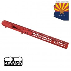"""AR .308 CAL STRIPPED BILLET UPPER RECEIVER & 15"""" AIRLITE SERIES KEYMOD HANDGUARD COMBO SET (ANODIZED RED)"""