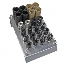 AR .308 CALIBER MUZZLE DEVICE ASSORTMENT KIT WITH TABLE TOP ACRYLIC DISPLAY RACK (5/8 X 24)