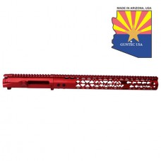 "AR15 STRIPPED BILLET UPPER RECEIVER & 15"" AIR LITE SERIES KEYMOD HANDGUARD COMBO SET (ANODIZED RED)"