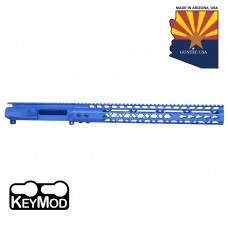 "AR15 STRIPPED BILLET UPPER RECEIVER & 15"" AIR LITE SERIES KEYMOD HANDGUARD COMBO SET  (BLUE)"
