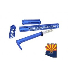AR-15 SKELETONIZED AIRLITE SERIES COMPLETE FURNITURE SET W/ MATCHING UPPER RECEIVER (ANODIZED BLUE)