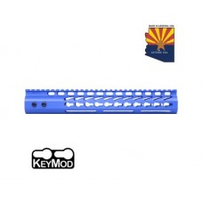 "12"" ULTRA LIGHTWEIGHT THIN KEY MOD FREE FLOATING HANDGUARD WITH MONOLITHIC TOP RAIL (BLUE)"